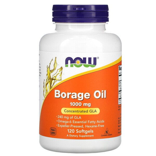 Now Foods, Borage Oil, Concentration GLA , 1,000 mg, 120 Softgels