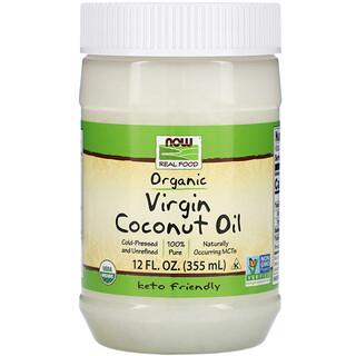 Now Foods, Real Food, Organic Virgin Coconut Oil, natives Bio-Kokosnussöl, 355ml (12fl. oz.)