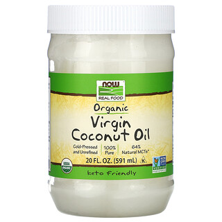 Now Foods, Real Food, Organic Virgin Coconut Oil, natives Bio-Kokosnussöl, 591ml (20fl.oz.)