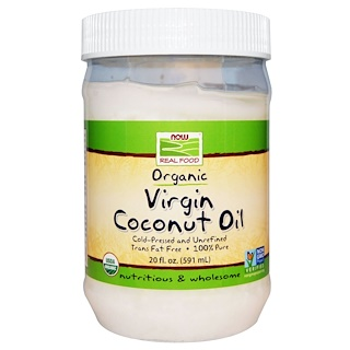 Now Foods, Real Food, Organic Virgin Coconut Oil, 20 fl oz (591 ml)