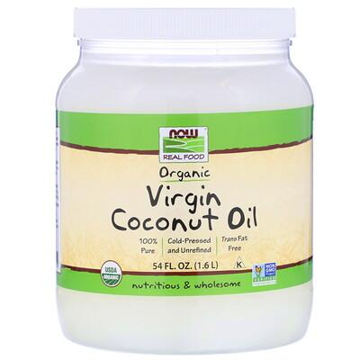 Купить Now Foods Real Food, органическое натуральное кокосовое масло, 1, 6 л (54 жидких унции)