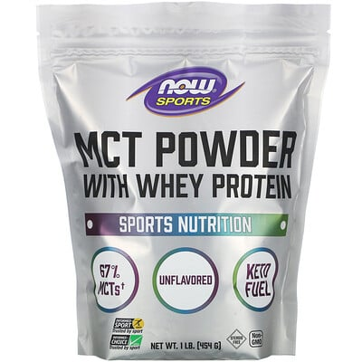 Купить Now Foods Sports, MCT Powder with Whey Protein, Unflavored, 1 lb (454 g)