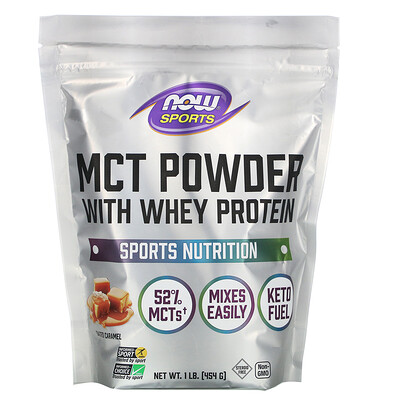 Now Foods Sports, MCT Powder with Whey Protein, Salted Caramel, 1 lb (454 g)