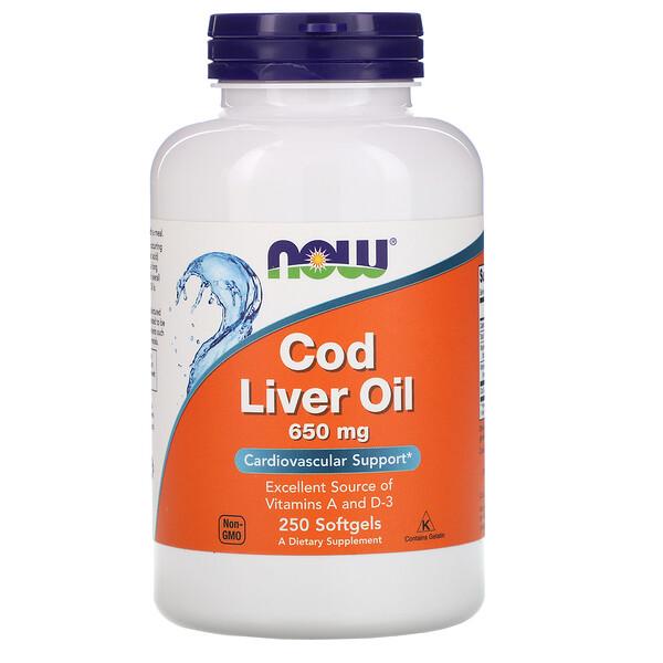 Cod Liver Oil, 650 мг, 250 мягких желатиновых капсул
