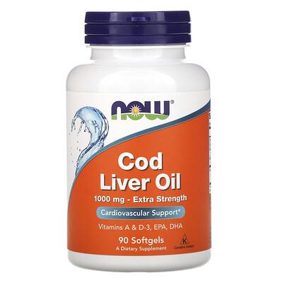 Купить Now Foods Жир печени трески, усиленного действия, 1000мг, 90мягких таблеток
