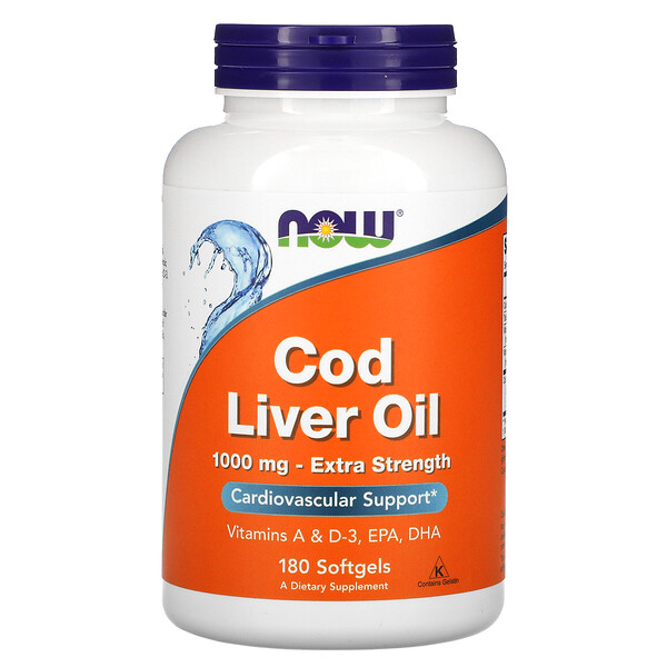 Cod Liver Oil, 1,000 mg, 180 Softgels
