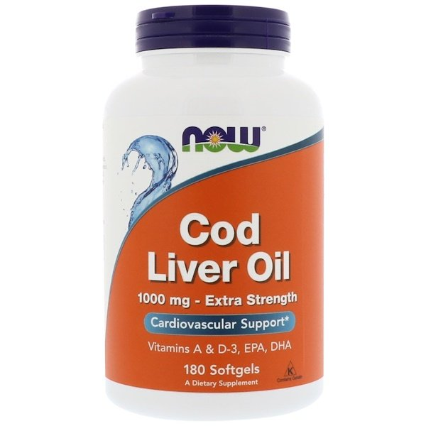 Now Foods, Cod Liver Oil, 1,000 mg, 180 Softgels