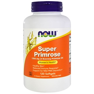 Now Foods, Super Primrose, Evening Primrose Oil, 1300 mg, 120 Softgels