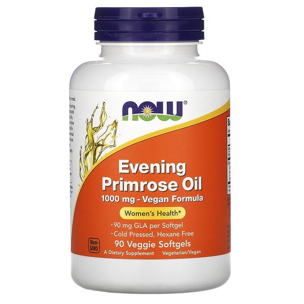Now Foods, Evening Primrose Oil, Nachtkerzenöl, 1.000mg, 90pflanzliche Weichkapseln