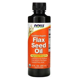 Now Foods, 認可有機,亞麻籽油,12 液量盎司(355 毫升)