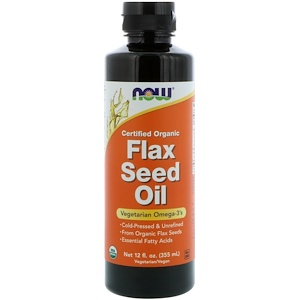 Now Foods, Сертифицированное органическое льняное масло, 12 жидких унций (355 мл)