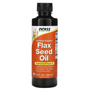 Now Foods, Certified Organic, Flax Seed Oil, 12 fl oz (355 ml) отзывы
