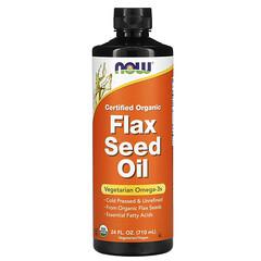 Now Foods, 認可有機,亞麻籽油,24 液量盎司(710 毫升)