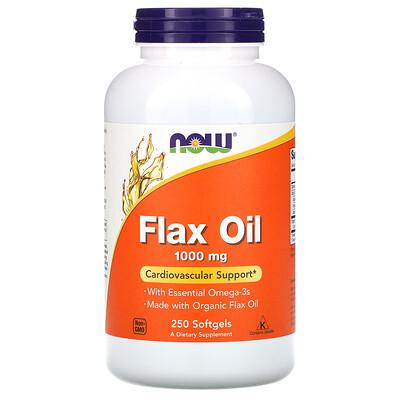 Купить Now Foods Льняное масло с незаменимыми жирными кислотами омега-3, 1000 мг, 250 мягких желатиновых капсул