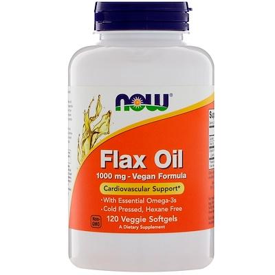 Купить Now Foods Льняное масло, 1000мг, 120растительных мягких капсул