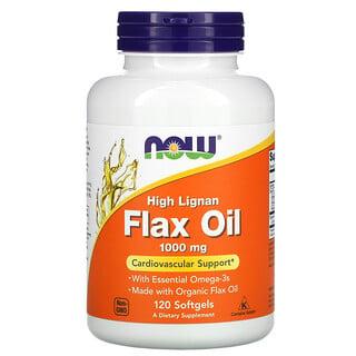 Now Foods, Aceite de lino alto en lignanos, orgánico y certificado, 1000 mg, 120 cápsulas blandas