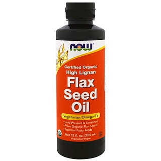 Now Foods, Certified Organic, High Lignan Flax Seed Oil, 12 fl oz (355 ml)