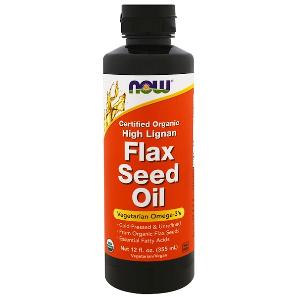 Now Foods, Certified Organic, High Lignan Flax Seed Oil, 12 fl oz (355 ml) (Discontinued Item)