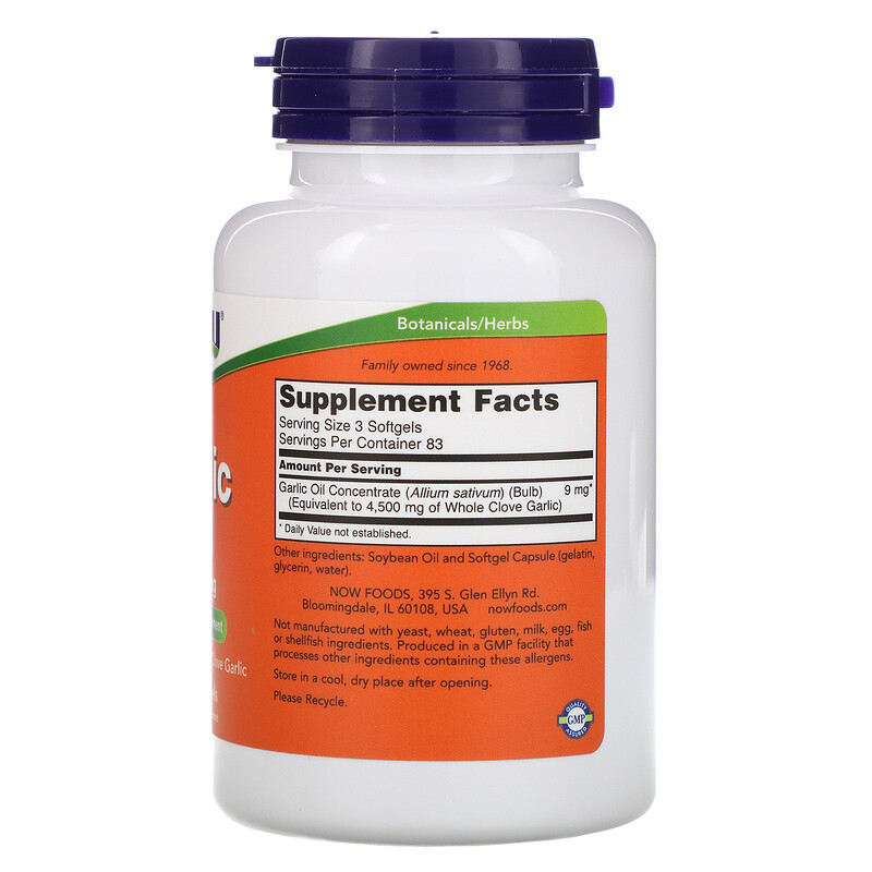 Now Foods, Garlic Oil, 1,500 mg, 250 Softgels - photo 1