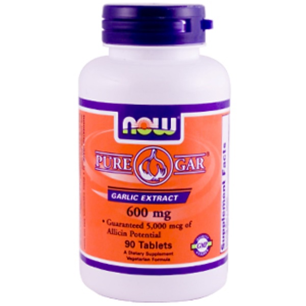Now Foods, Pure-Gar, Garlic Extract, 600 mg, 90 Tablets (Discontinued Item)