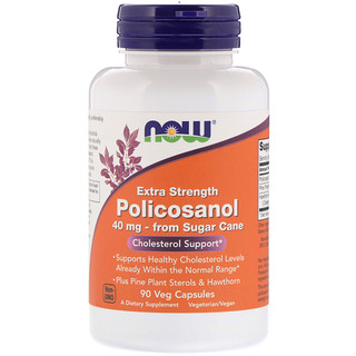 Now Foods, Policosanol extraforte, 40 mg, 90 cápsulas vegetais