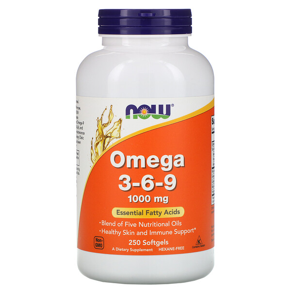 Now Foods, Omega 3-6-9, 1,000 mg, 250 Softgels