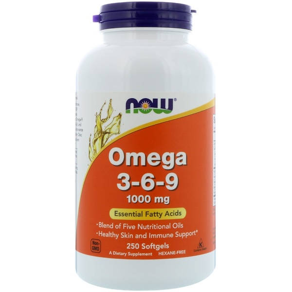 Now Foods, Omega 3-6-9, 1000 mg, 250 Softgels