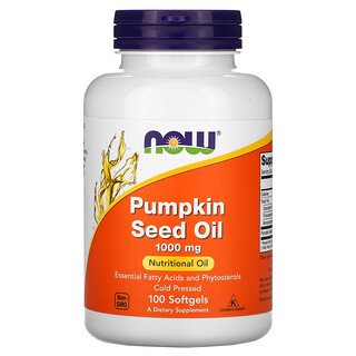 Now Foods, Pumpkin Seed Oil, 1000 mg, 100 Softgels