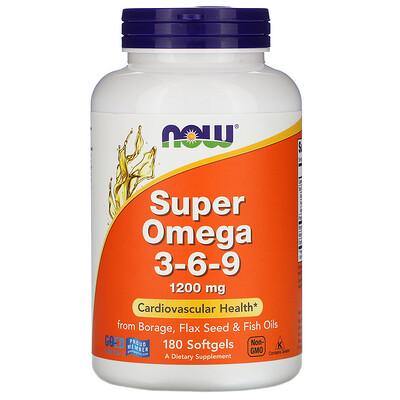 Купить Super Omega 3-6-9, 1200 мг, 180 мягких таблеток