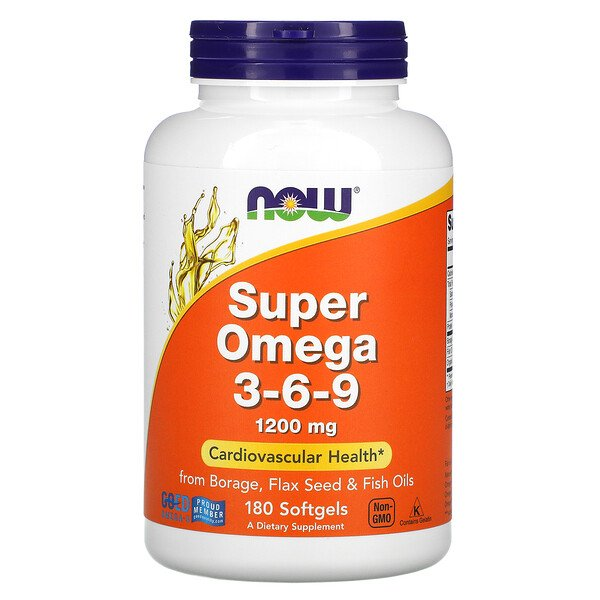 Now Foods, Super Omega 3-6-9, 1,200 mg, 180 Softgels