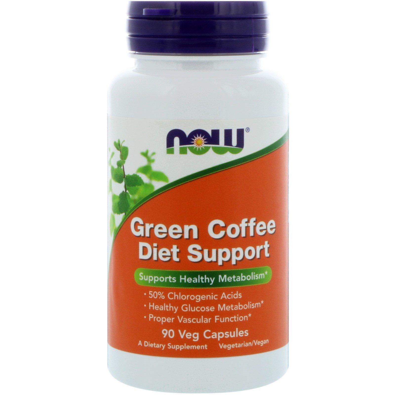 Now Foods, Зеленый кофе для пищевой поддержки, 90 капсул на растительной основе