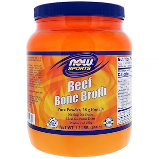 Now Foods, Bouillon d'os de bœuf, 544 g (1,2 lb)