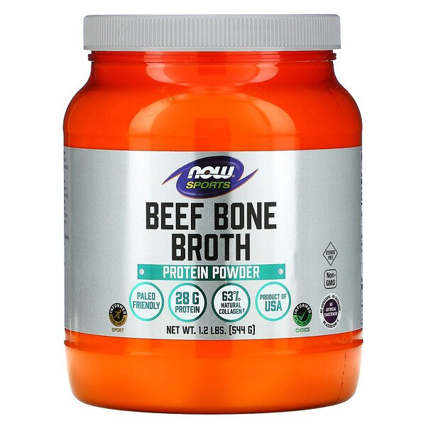 Now Foods, Sports, Beef Bone Broth, Protein Powder , 1.2 lbs (544 g)
