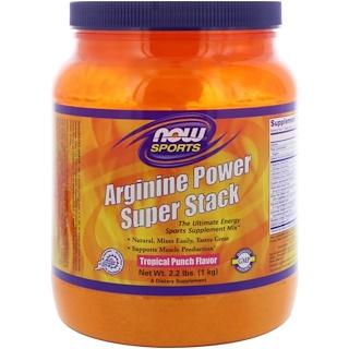 Now Foods, Sports, Arginine Power Super Stack, Tropical Punch Flavor, 2.2 lbs. (1 kg)
