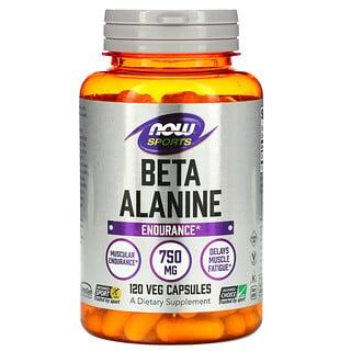 Now Foods, Sports, Beta-Alanine, Endurance, 750 mg, 120 Veg Capsules