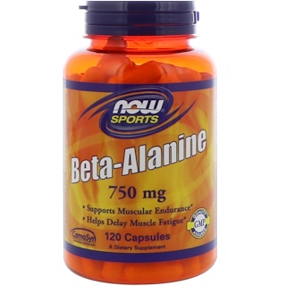 Now Foods, Beta-Alanina, 750 mg, 120 Cápsulas