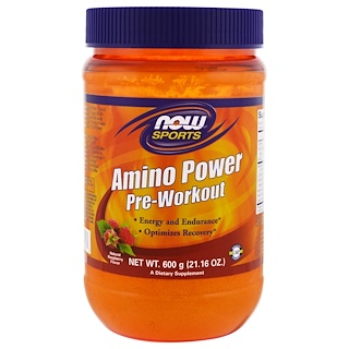 Now Foods, Sports, Amino Power Pre-Workout, Natural Raspberry Flavor, 1.3 lbs (600 g)