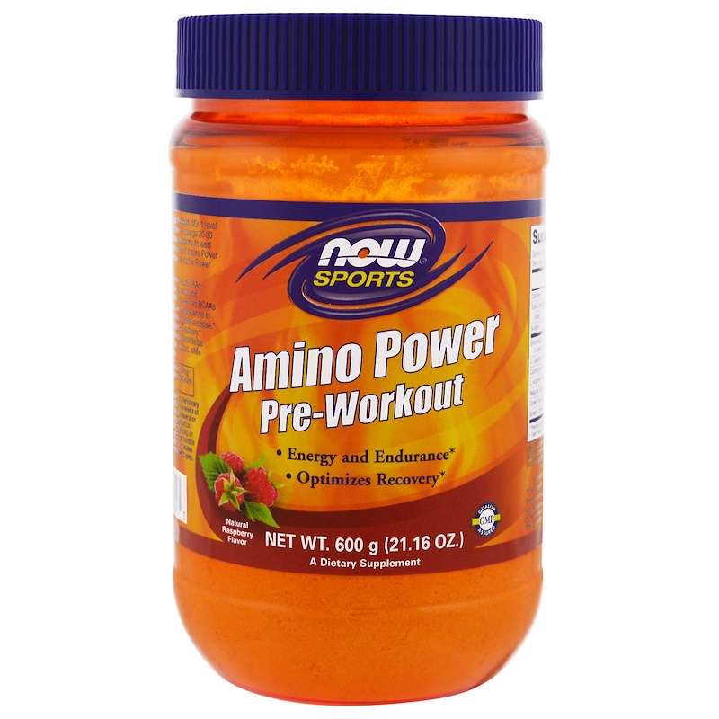 Sports, Amino Power Pre-Workout, Natural Raspberry Flavor, 1.3 lbs (600 g)