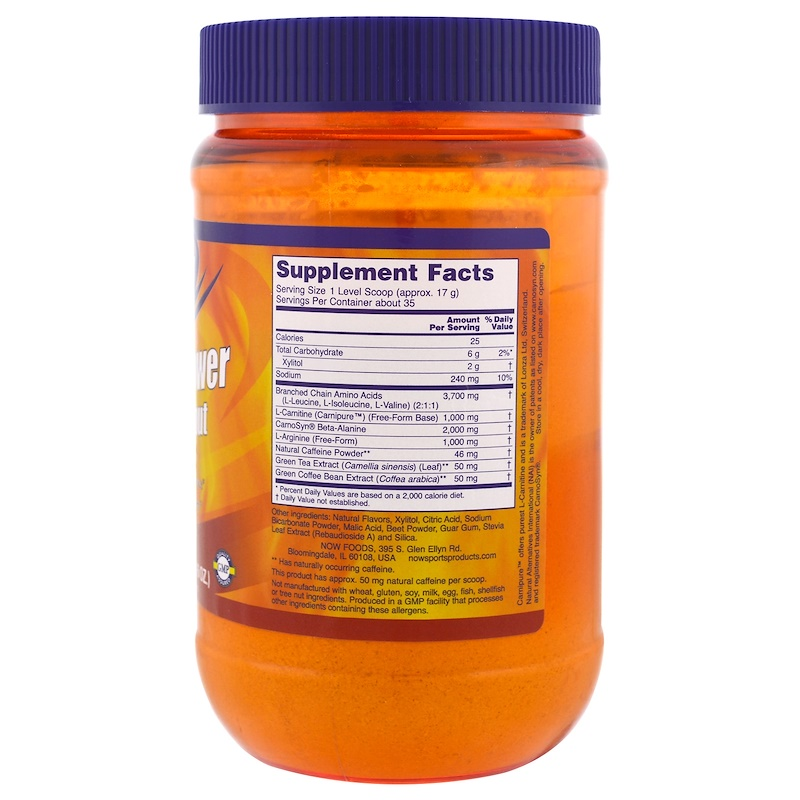 Now Foods, Sports, Amino Power Pre-Workout, Natural Raspberry Flavor, 1.3 lbs (600 g) - photo 1