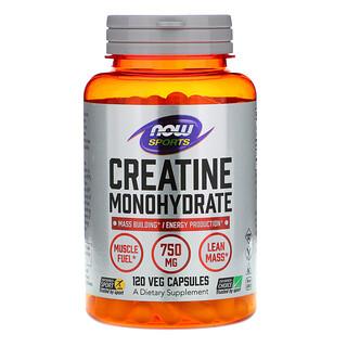 Now Foods, Sports, моногидрат креатина, 750 мг, 120 растительных капсул
