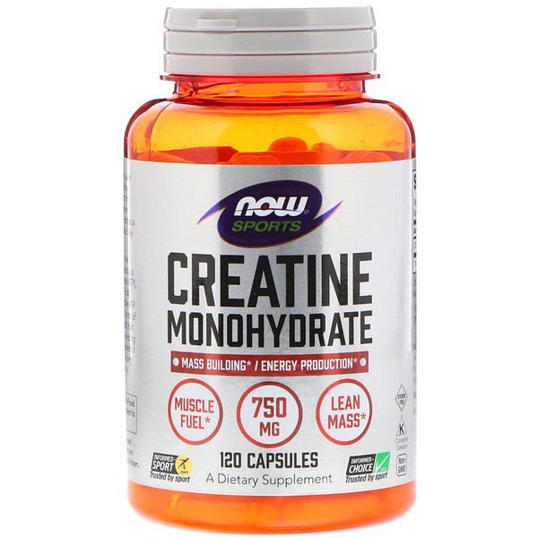 Now Foods, Sports, Creatine Monohydrate, 750 мг, 120 капсул