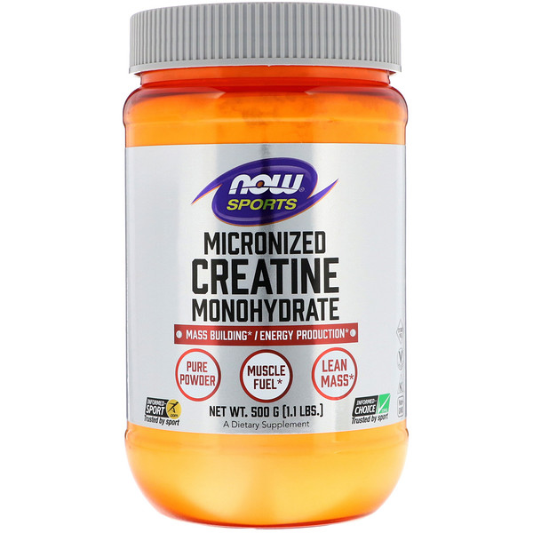 Now Foods, Sports, Creatina Monohidratado, Micronizado, 1,1 lbs (500 g)