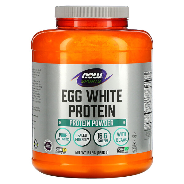 Now Foods, Sports, Egg White Protein Powder, Unflavored, 5 lbs (2,268 g)