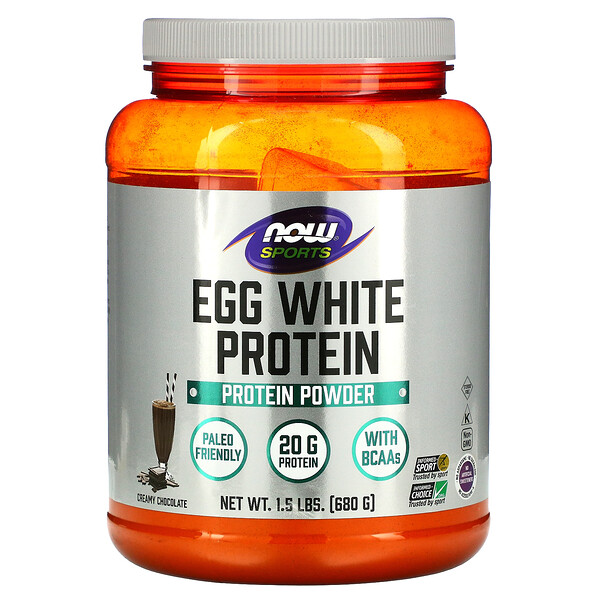 Now Foods, Egg White Protein, Creamy Chocolate, 1.5 lbs (680 g)