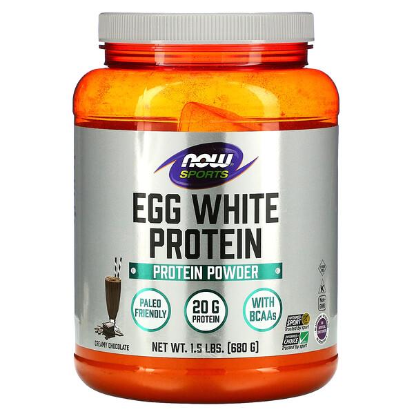 Now Foods, Proteína de clara de huevo, Chocolate cremoso, 680g (1,5lb)