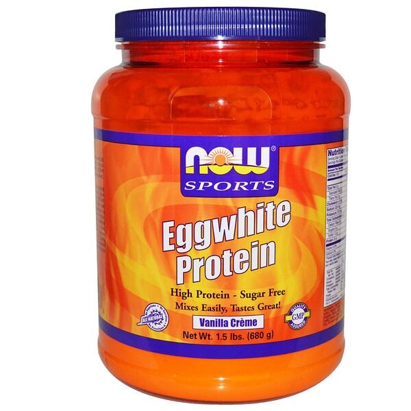 Now Foods, Протеин яичного белка, без сахара, ванильный крем, 1,5 фунта (680 г) (Discontinued Item)