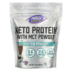 Now Foods, Sports, Keto Protein with MCT Powder, Creamy Chocolate, 1 lb (454 g)