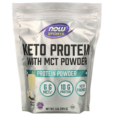 Купить Now Foods Sports, Keto Protein with MCT Powder, Vanilla Cream, 1 lb (454 g)