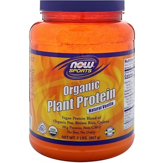 Now Foods, Organic Plant Protein, Natural Vanilla, 2 lbs (907 g)
