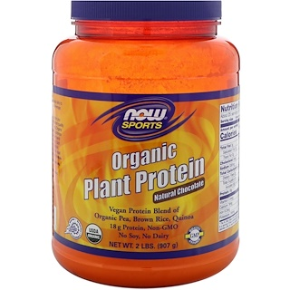 Now Foods, Organic Plant Protein, Natural Chocolate, 2 lbs (907 g)